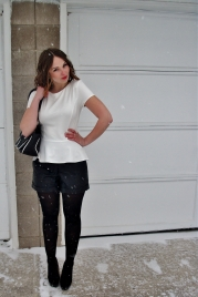 white peplum, leather shorts, short ombre waves