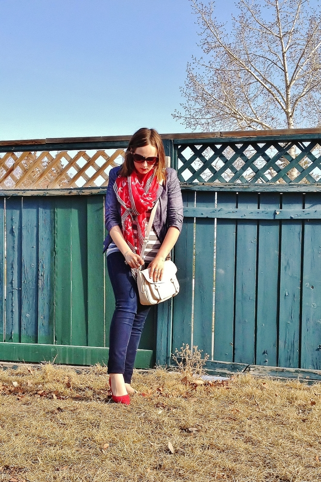 Best Foot Forward in Nautical and Stripes- Red Pointy Toe Kitten Heels, Blazer, Bag and Scarf