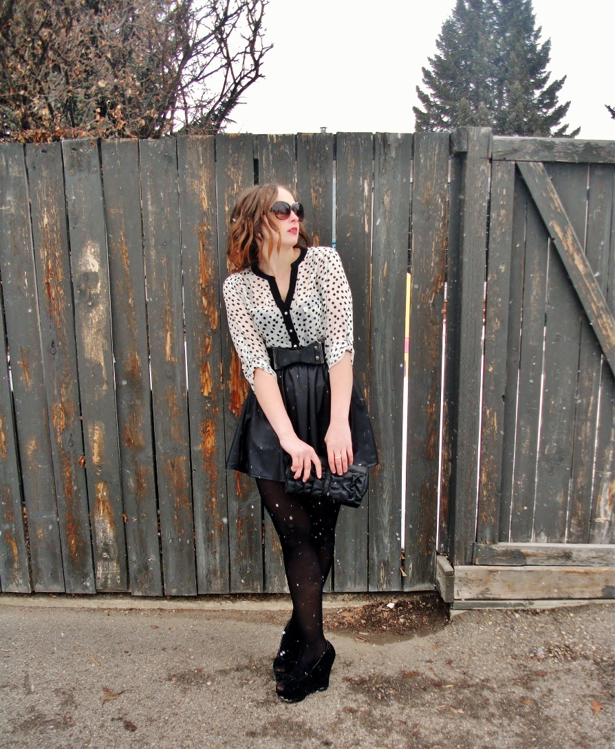 cute spring outfit- pleated leather and polka dots