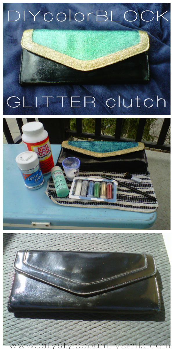 DIY color block glitter clutch
