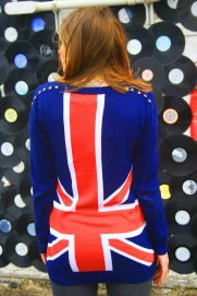 DIY love - studded union jack cardi, sun lightened hair