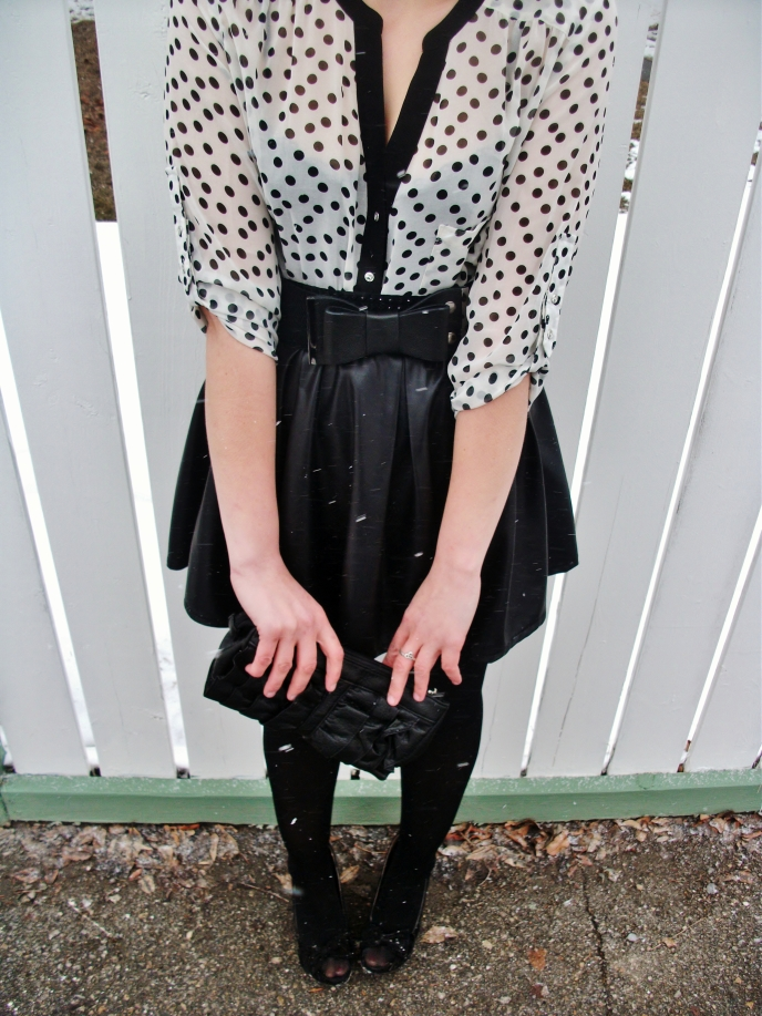 head to toe- le chateau polka dot blouse, bow belt, ruffle clutch and tights  ..  sirens pleated faux- leather skirt and bow wedge heels