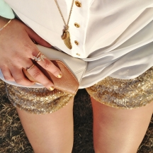 LA is for Lovers - aldo accessories, gold sequin shorts, white silk blouse