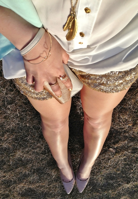 lengthen your legs with nude heels - gold jewelery and sequin shorts