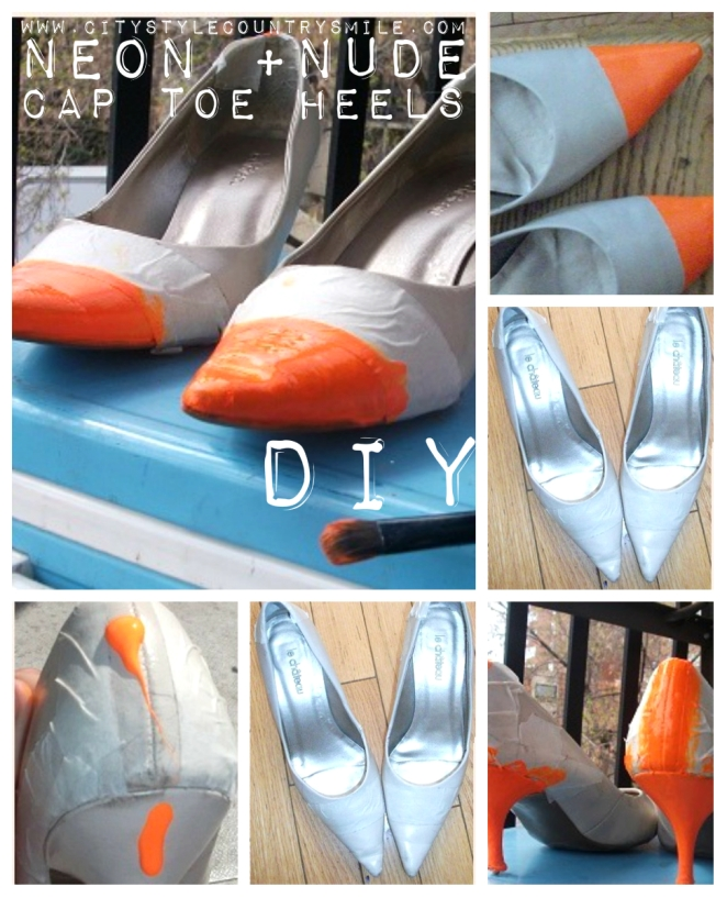 Neon and Nude cap toe heel DIY