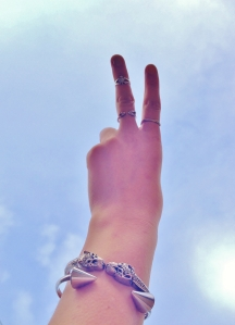 peace, accessory love and blue skies