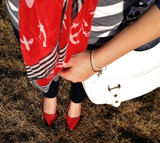 SEEING RED - pointy toe heels, anchor and striped scarf