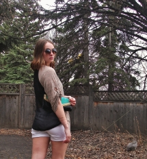 Sheer panel relaxed blouse, white shorts, DIY mint and gold glitter clutch