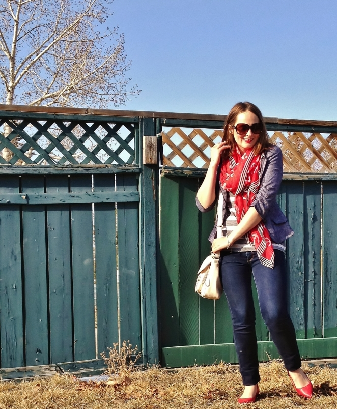 smiles and easy spring style. blue and red basics