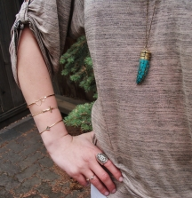 stacked bangles - hearts, cross, diamond, skull ring, turquoise claw necklace