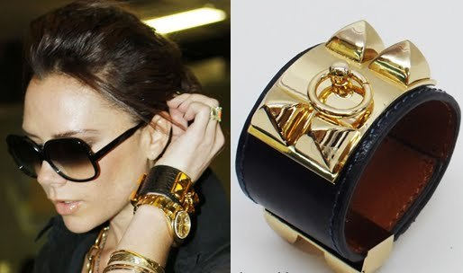 Victoria Beckham wearing Hermes Studded Leather cuff