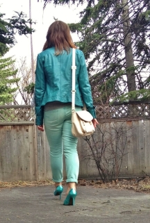 American Eagle Mint Skinny Jeans, Le Chateau vegan leather jeacket, Guess Stilettos