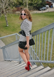 black and white and red heels