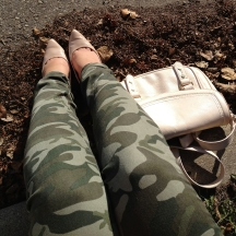 camo denim, nude heels, Co-Lab cross body bag