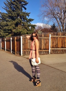 city tribal style - printed leggings, wedge sandals, peach blouse and aviators