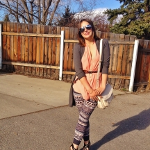 cross body bag, tribal print leggings and wedge sandles