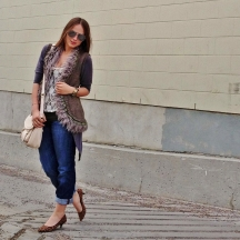 easy layers - fur lined vest, long cardi, lace top and boyfriend denim