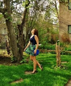 floral skirt, bright bag for summer