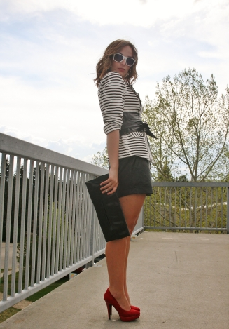Patent envelope clutch, red platform pumps, leather shorts, striped blazer