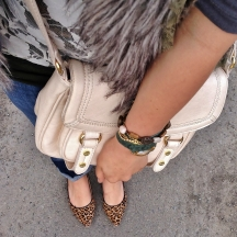 stone wrap watch by la mer, leopard heels by le chateau., bag by co-lab