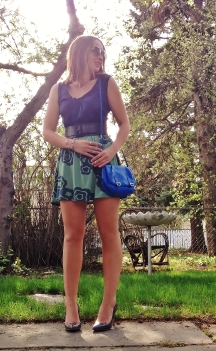 summer nights - floral skirt, silk blouse and a bright bag