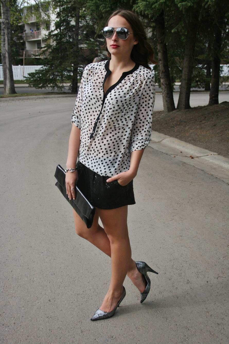 polka dot blouse with shorts