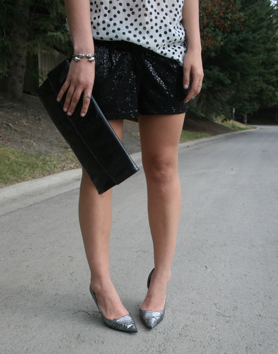 sequin shorts and silver stilettos