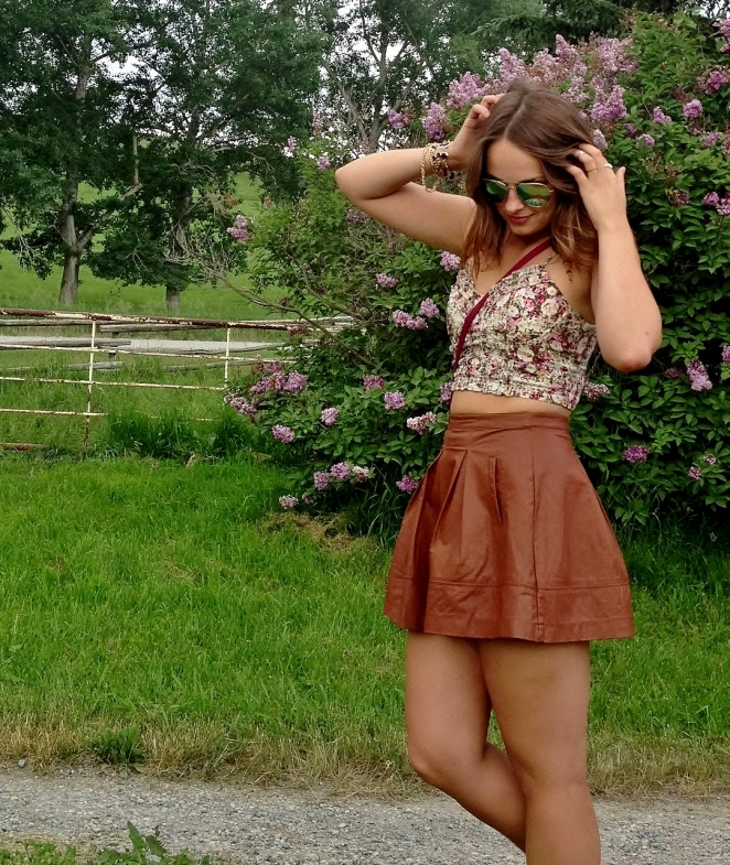 floral bustier, leather skater skirt